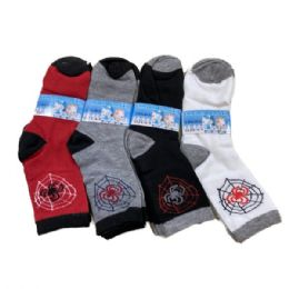 48 Units of Boy's Quarter Socks 6-8 [Spider] - Boys Ankle Sock