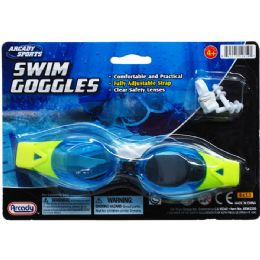 """48 Units of 7"""" Swim Goggles W/ Nose & Ear Plugs , 4assrt Clrs - Summer Toys"""