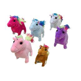 12 Units of Sound and Motion Unicorn [Light Up Horn] Rainbow Tail - Plush Toys