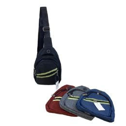 72 Units of Solid Color Shoulder Bag with Neon Reflective Stripes - Shoulder Bags & Messenger Bags