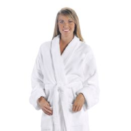 3 Units of Tahoe Fleece Shawl Collar Robe In White - Bath Robes
