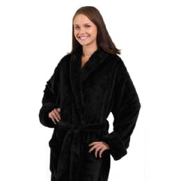 3 Units of Tahoe Fleece Shawl Collar Robe In Black - Bath Robes
