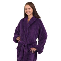 3 Units of Tahoe Fleece Shawl Collar Robe In Purple - Bath Robes