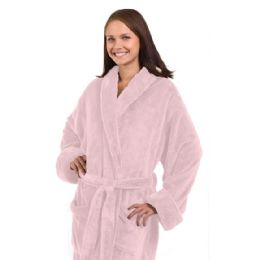 3 Units of Tahoe Fleece Shawl Collar Robe In Light Pink - Bath Robes