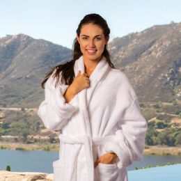 3 Units of Deluxe Shawl Collar Luxury Bathrobe In White - Bath Robes