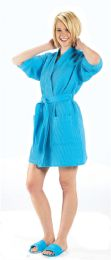 2 Units of Thigh Length Waffle Weave Kimono Robe In Aqua - Bath Robes