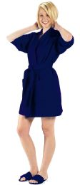 2 Units of Thigh Length Waffle Weave Kimono Robe In Navy - Bath Robes