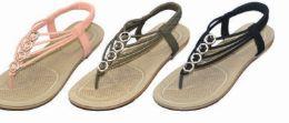 36 Units of Women T Strap Summer Sandals Beach Platform Beads Flip Flops Thong Flat Shoes - Women's Sandals