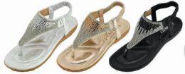 24 Units of Glitter Summer Flat Sandals Prime Thongs Flip Flop Shoes - Women's Sandals