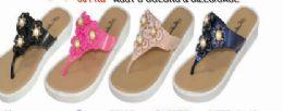 36 Units of Women Beach Sandals Flower Stud Pearl Fashion Summer Thong Flip Flops - Women's Sandals