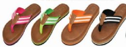 36 Units of Women Beach Sandals Striped Thong Flip Flops - Women's Sandals