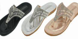 24 Units of Women Sandals Summer Beach Glitter Beads T Strap Flip Flop Thong Shoes - Women's Sandals