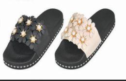24 Units of Womens Platform Wedge Flip Flops Sandals Pearl Floral Anti Slip Summer Thongs Slippers - Women's Sandals