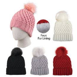 24 Units of Ladies Plush Lined Knitted Hat With Fur Pompom [metallic Accent] - Winter Hats
