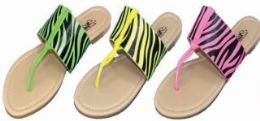 24 Units of Womens Neon Animal Print Flip Flops Slides Walking Flats Summer Beach Pool Party - Women's Flip Flops