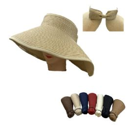 24 Units of Ladies RolL-Up LargE-Brimmed Sun Visor With Bow - Sun Hats
