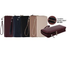 24 Units of Ladies Dual Zipper Wallet with Wrist Strap [Smooth] - Wallets & Handbags