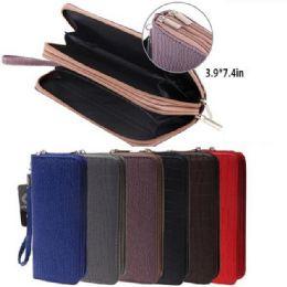 24 Units of Ladies Dual Zipper Wallet with Wrist Strap [Textured Design] - Wallets & Handbags