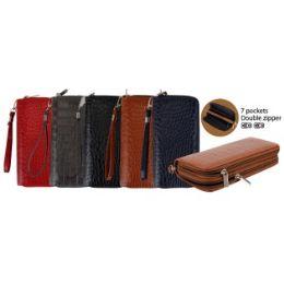 24 Units of Ladies Dual Zipper Wallet with Wrist Strap [Shiny Croc] - Wallets & Handbags