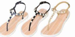 36 Units of Womens Pearl Studded Back Strap Sandals Flip Flops - Women's Sandals