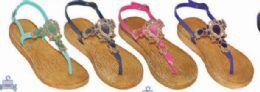 36 Units of Womens Bohemian Flip Flops Flat Sandals Summer Beach Comfort Anti Slip Boho Straw Pool Thong Sandal - Women's Sandals