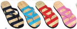 48 Units of Womens Comfort Thong Style Flip Flops Sandals Striped - Women's Sandals