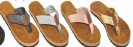 36 Units of Womens Chunky Metallic Flip Flop Sandal - Women's Sandals