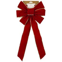 48 Units of Red Velvet Bow w/ Gold Trim - Christmas Decorations