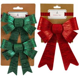 36 Units of Metal Brushed Bow - Christmas Decorations
