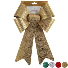 24 Units of Metal Brushed Bow - Christmas Decorations