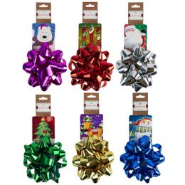 24 Units of Christmas Foil Bow W/ Printed Tag Card - Christmas Decorations