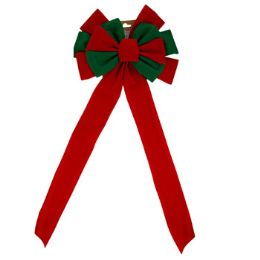 36 Units of Red/Green Velvet Bow - Christmas Decorations
