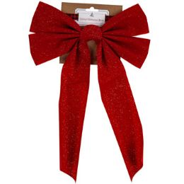 36 Units of Velvet Glittered Red Bow - Christmas Decorations
