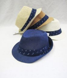 36 Units of Unisex Assorted Fedora Hat With Anchor Print - Fedoras, Driver Caps & Visor