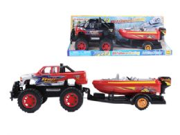 """12 Units of FRICTION TOWING TRUCK W/BOAT 20"""" - Cars, Planes, Trains & Bikes"""