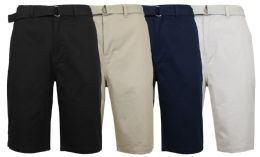 48 Units of Mens Belted Cotton Chino Shorts Assorted Colors Ans Sizes - Mens Shorts