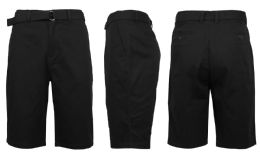 24 Units of Mens Belted Cotton Chino Shorts Assorted Sizes Solid Black - Mens Shorts