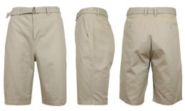 24 Units of Mens Belted Cotton Chino Shorts Assorted Sizes Solid Khaki - Mens Shorts