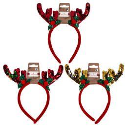 48 Units of Christmas Sequin Headband - Christmas Novelties