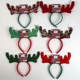 36 Units of Reindeer Antler Headbands - Christmas Novelties