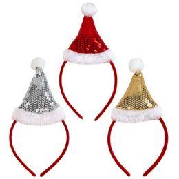 24 Units of Santa Hat Headband - Christmas Novelties