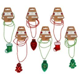 96 Units of Lightup Christmas Necklaces - Christmas Novelties