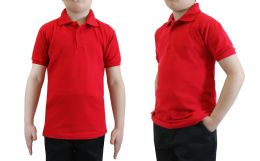 36 Units of Boys Cotton Blend Short Sleeve School Uniform Polo Shirt - SOLID RED SIZE 4 - Boys School Uniforms