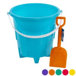 24 Units of Plastic Sand Bucket With Shovel - Summer Toys