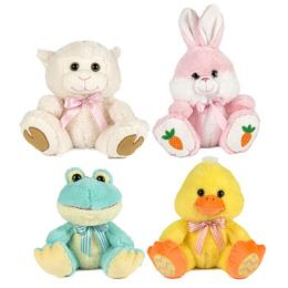 24 Units of Plush Easter Big Paw 9.5in Bunny/lamb/chick/frog Easter/ht W/ribbon Tie - Easter