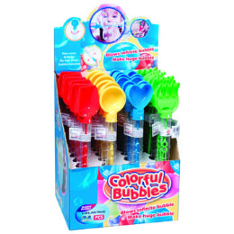 24 Units of Bubble Wand W/sand Tool Top 11in 4ast Styles 24pc/pdq Upc Label - Bubbles