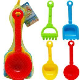"48 Units of 12.5"" Beach Wheel Barrow W/ 4pc Acss In Pegable Net Bag - Summer Toys"