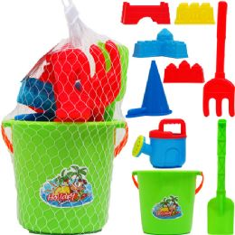 "12 Units of 6"" BEACH TOY BUCKET WITH 8PC ACSS IN PEGABLE NET BAG - Summer Toys"