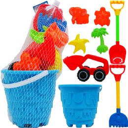 "9 Units of 7"" BEACH TOY BUCKET W/ 7PC ACSS IN PEGABLE NET BAG - Summer Toys"
