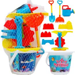 "9 Units of 5"" BEACH BUCKET WITH 8PC ACSS IN PEGABLE NET BAG - Summer Toys"